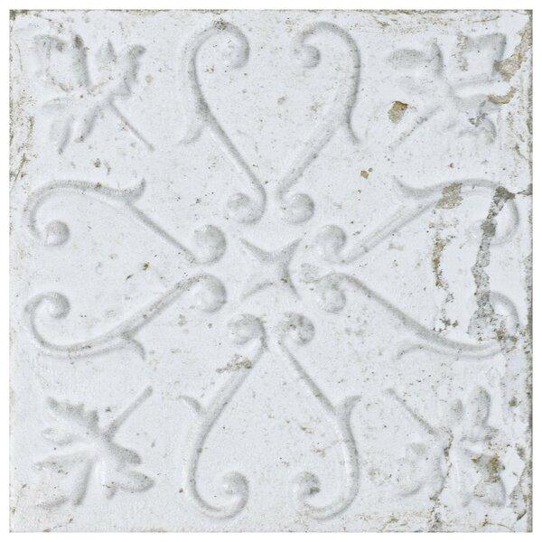 Aevit 7.88 x 7.88 Ceramic Field Tile in White Ornato by EliteTile