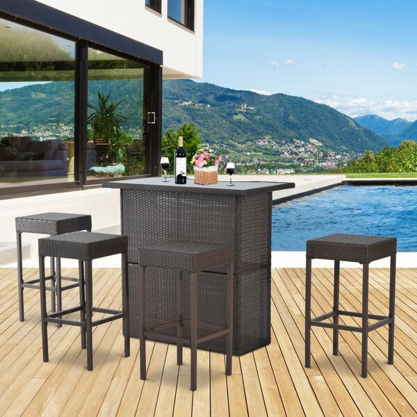 Skiba 5 Piece Outdoor Rattan Bar Height Dining Set by Gracie Oaks
