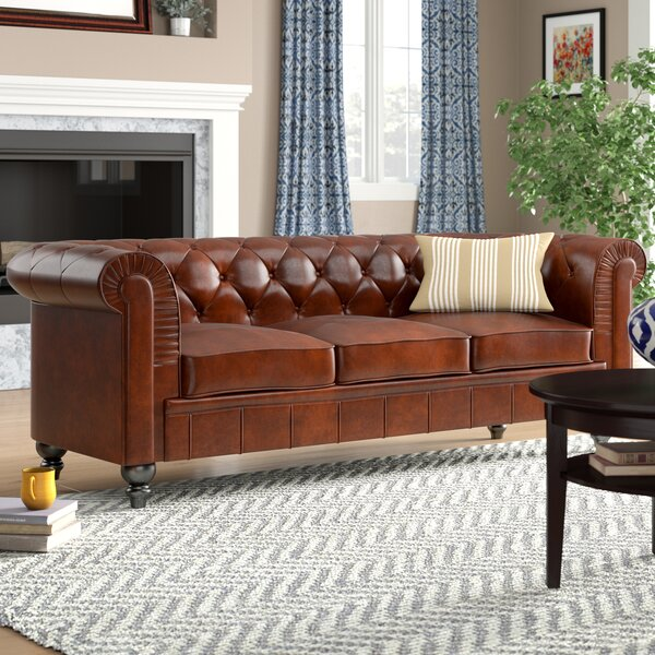 Alpharetta Traditional Chesterfield Leather Sofa by Three Posts