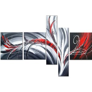 'Abstract Flow' 5 Piece Painting on Canvas Set by Zipcode Design