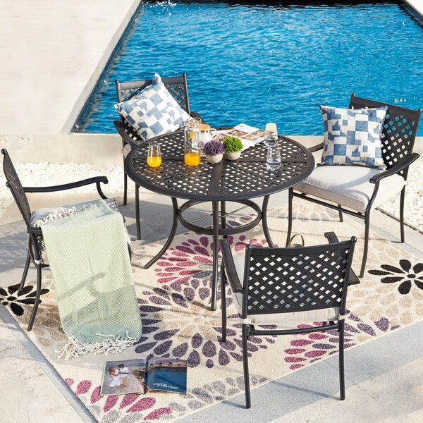 Bellmie Outdoor 5 Piece Dining Set with Cushions by Red Barrel Studio