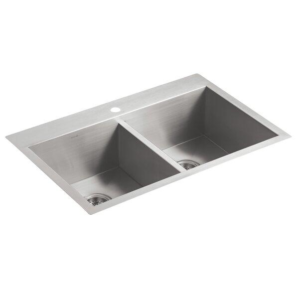 Vault 33 L x 22 W x 9-5/16 Double Bowl Kitchen Sink with Single Faucet Hole by Kohler