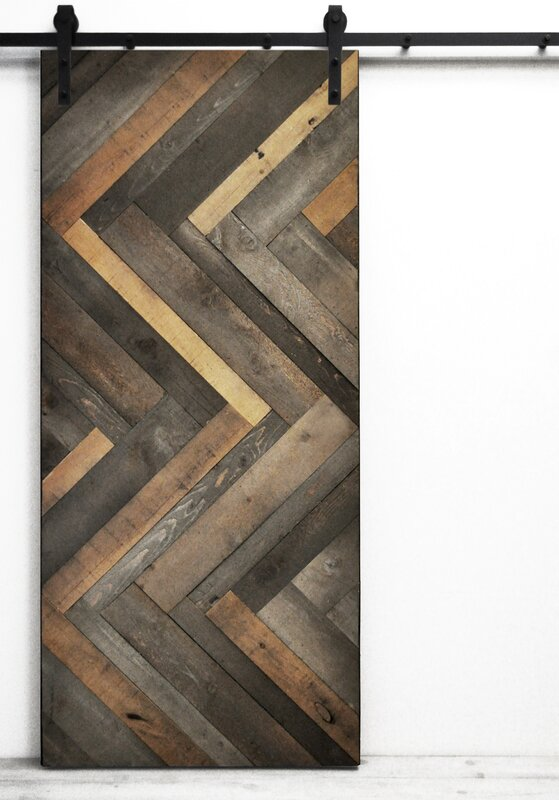 Lovely Herringbone Wood Lacquer Stained Interior Barn Door