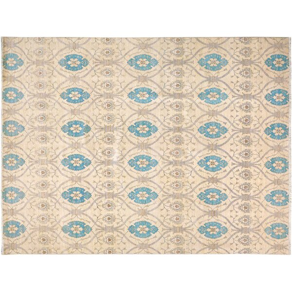 Badham Hand-Knotted Rectangle Wool Ivory/Blue Oriental Area Rug by Bloomsbury Market