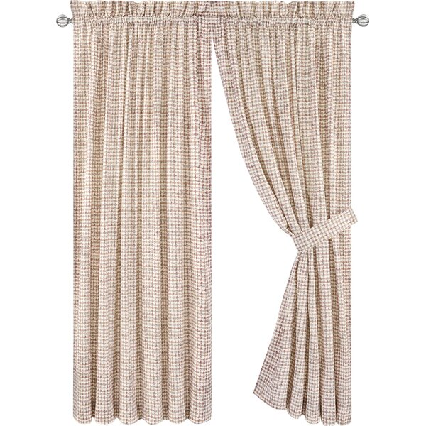 Brandon Plaid Semi-Sheer Rod Pocket Curtain Panels (Set of 2) by Langley Street