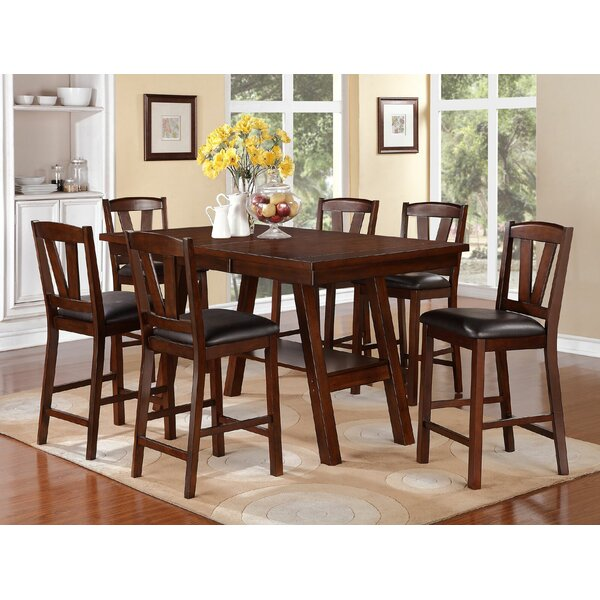 Kaneshiro 7 Piece Counter Height Solid Wood Dining Set by Alcott Hill