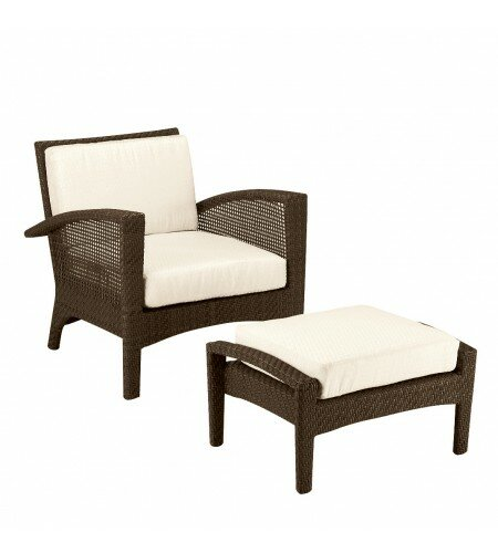 Trinidad Patio Chair and Ottoman with Cushions by Woodard