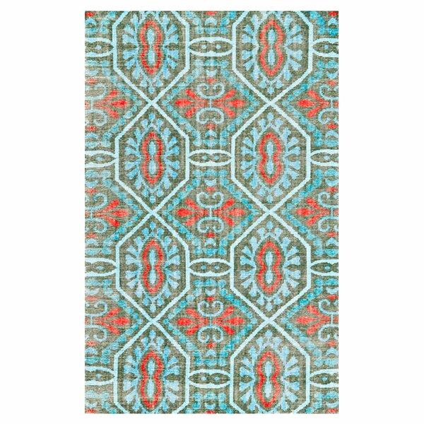 Rumi Hand Knotted Wool Paprika/Aqua Area Rug by Feizy Rugs