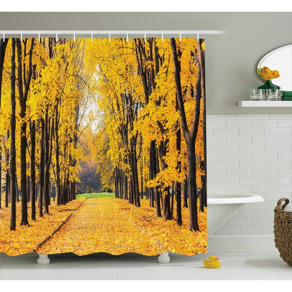 Vandemere Nature Autumn Fall Trees Falls Dried Leaves Scenery on Road Path Photo Artwork Shower Curtain by Ivy Bronx