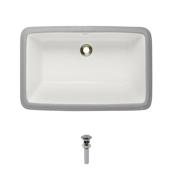 Vitreous China Rectangular Undermount Bathroom Sink with Overflow And Drain Assembly by MR Direct