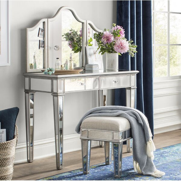 Lyra Vanity Set with Mirror by Willa Arlo Interiors