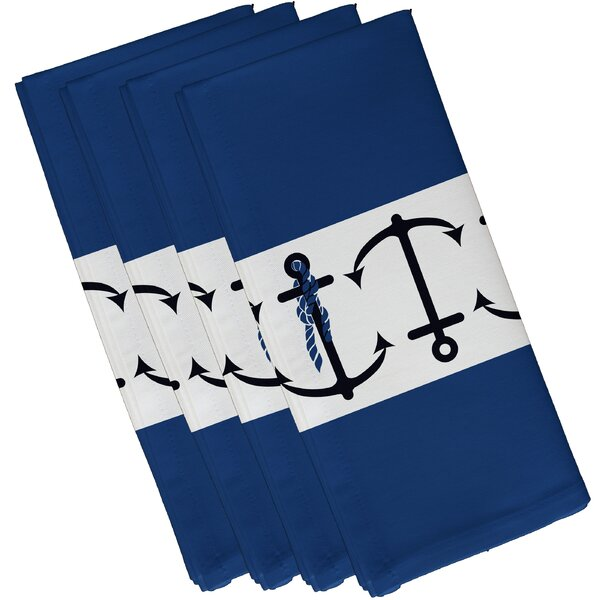Hancock Anchor Stripe Print Napkin (Set of 4) by Breakwater Bay