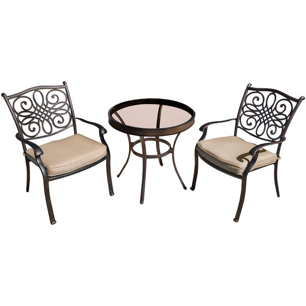 Lauritsen 3 Piece Aluminum Bistro Set with Cushions by Three Posts