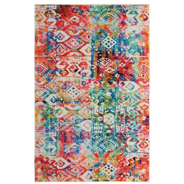 Amblewood Red/Blue Area Rug by Bungalow Rose