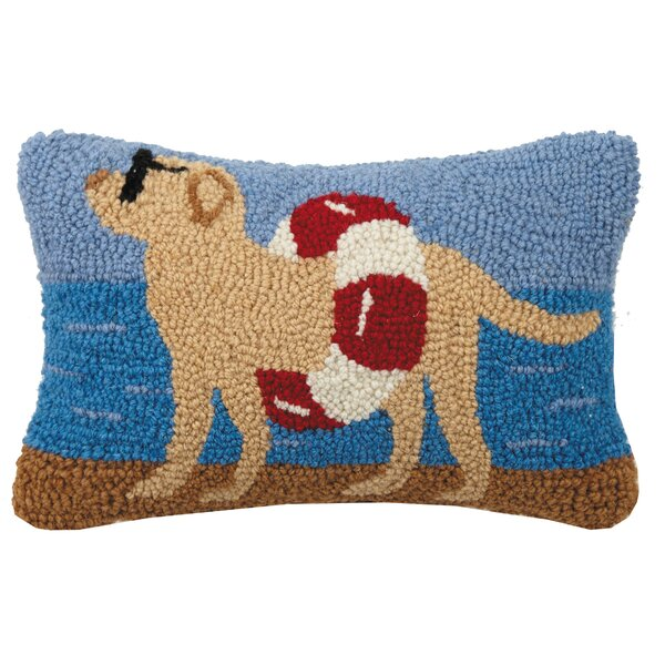 Allegra Dog at the Beach Hook Wool Lumbar Pillow by Winston Porter