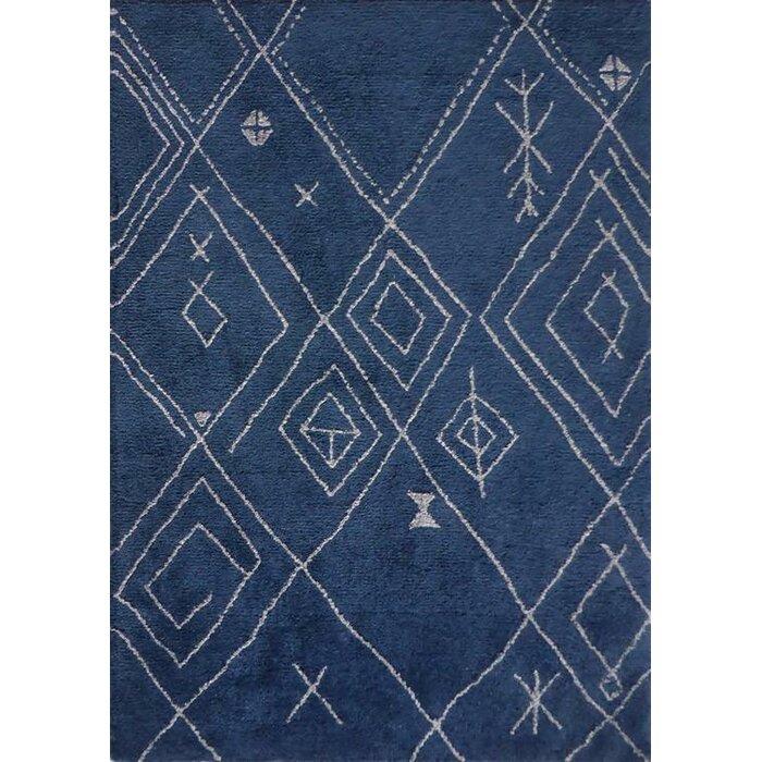 Kerin Moroccan Handmade Blue White Area Rug
