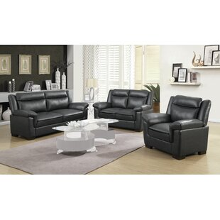 Erihn 3 Piece Faux Leather Living Room Set by Red Barrel Studio®