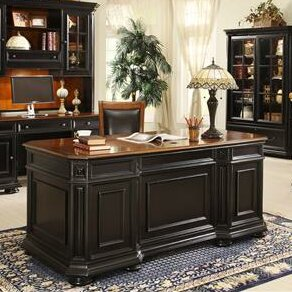 Shaeffer Desk with Hutch and Bookcase, Credenza Set
