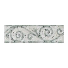 Ming 4 x 12 Marble Art Border Tile in Green/Pure White (Set of 10) by Seven Seas