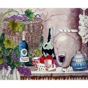 Grape Wine And Pot Tile Wall Decor