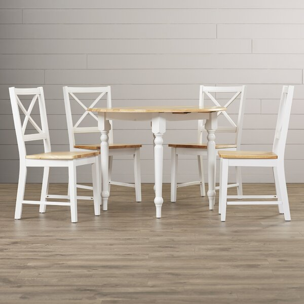 Powe 5 Piece Drop Leaf Solid Wood Dining Set by Andover Mills Andover Mills