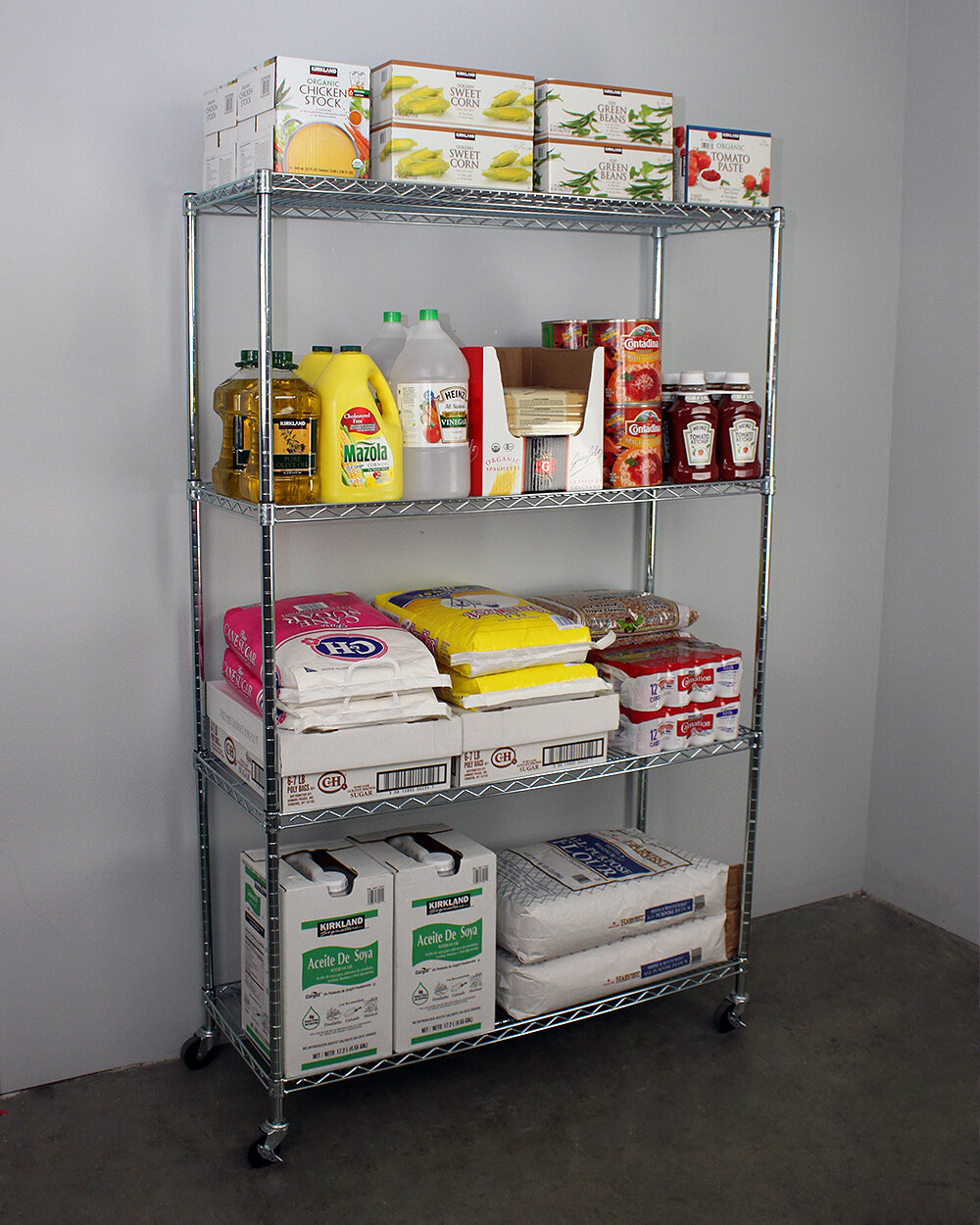 SafeRacks 4-Tier Wire Shelving Unit with Wheels | Wayfair