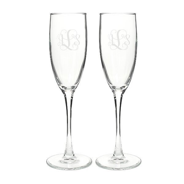 Vine Monogram Champagne Flute (Set of 2) by Cathys Concepts