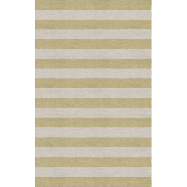 Chabot Hand Tufted Silver Beige Stripe Area Rug by Rosecliff Heights