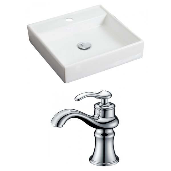 Ceramic 18 Wall Mount Bathroom Sink with Faucet by American Imaginations