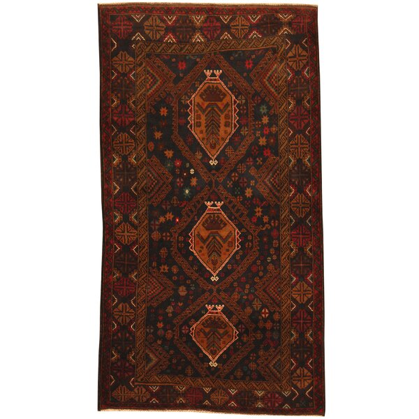 Prentice Hand-Knotted Navy/Red Area Rug by Isabelline