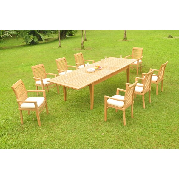 Maximillian 9 Piece Teak Dining Set by Rosecliff Heights