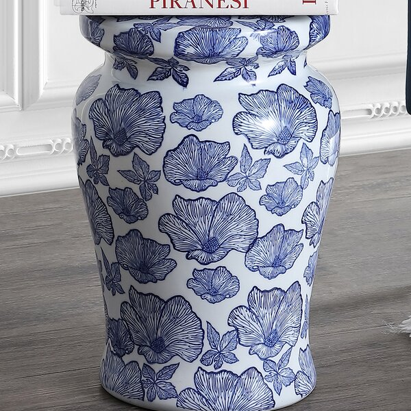 Wilde Poppies Ceramic Garden Stool by Charlton Home