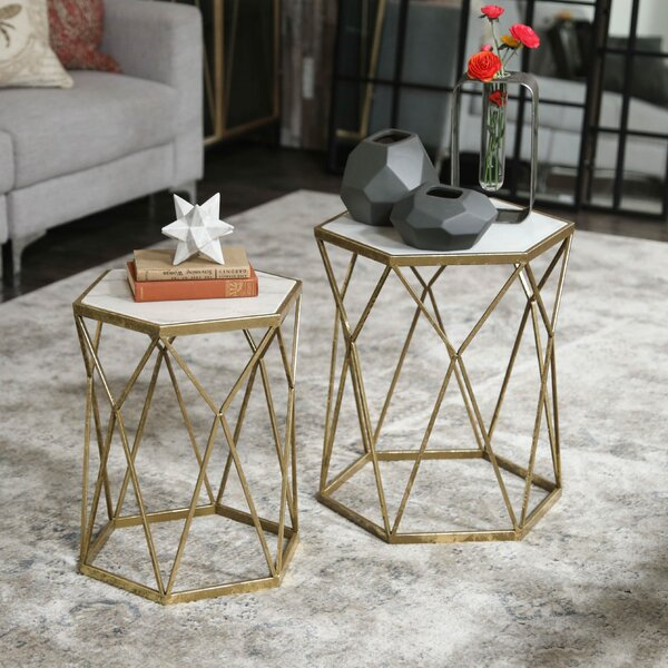 Melinda Metal Hexagon 2 Piece Nesting Tables by Mercer41