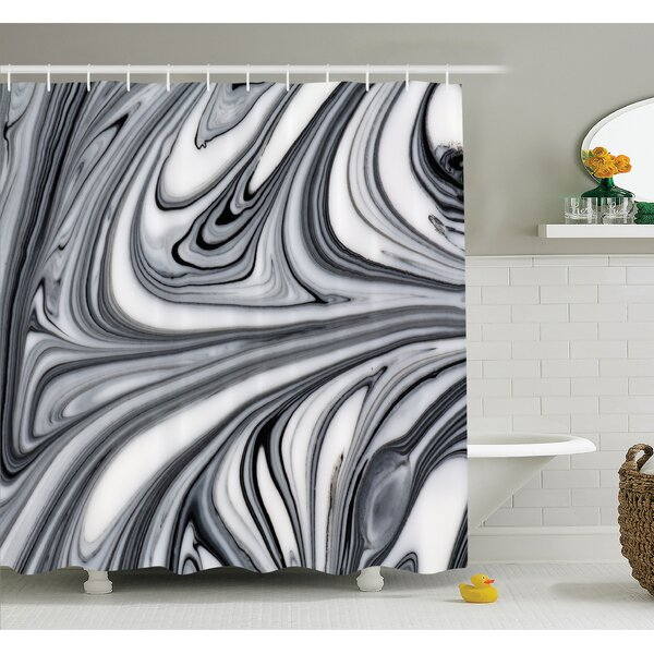 Mix of Hallucinatory Surreal Liquid Marble Figures Graphic Image Shower Curtain Set by East Urban Home