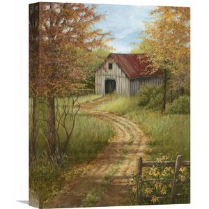 'Roadside Barn' by Lene Alston Casey Painting Print on Wrapped Canvas by Global Gallery
