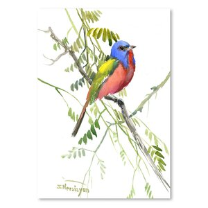 Painted Bunting  Painting Print by East Urban Home