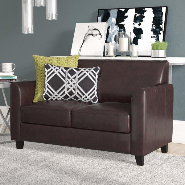 Superb Dark Brown Leather Loveseat Wayfair Evergreenethics Interior Chair Design Evergreenethicsorg