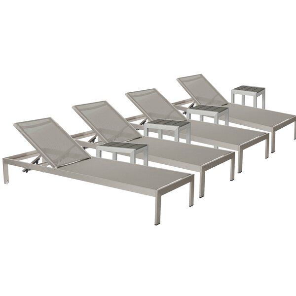 SLLY LRG 4 Chaise Lounge Set with Table by Mercury Row