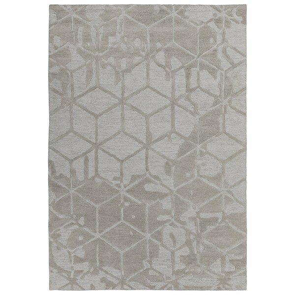 Konrad Natural Geometric 3D Cube Hand-Tufted Wool Beige Area Rug by Latitude Run