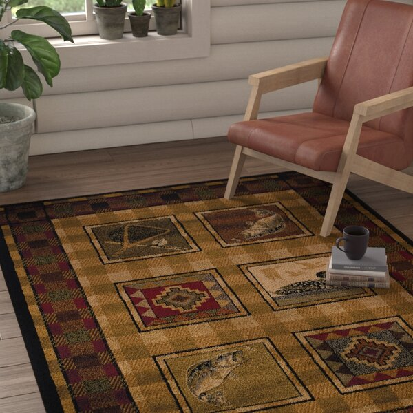 Sayre Lodge Stamp Ivory Area Rug by Loon Peak