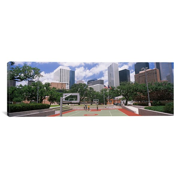 Panoramic Basketball Court with Skyscrapers in Houston, Texas Photographic Print on Canvas by iCanvas