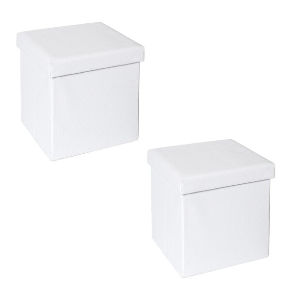 Frederick Quilted Fold-able Storage Ottoman (Set of 2) by Rebrilliant