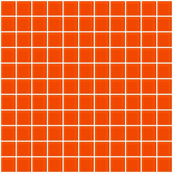 1 x 1 Glass Mosaic Tile in Bright Orange by Susan Jablon