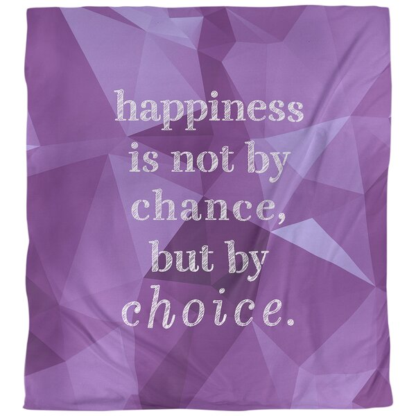 Quotes Faux Gemstone Happiness Inspirational Single Reversible Duvet Cover