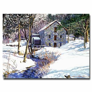 Snow Mill by David Lloyd Glover Painting Print on Canvas by Trademark Fine Art