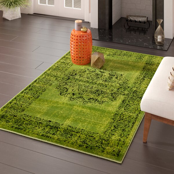 Neuilly Sage Green/Black Area Rug by Mistana