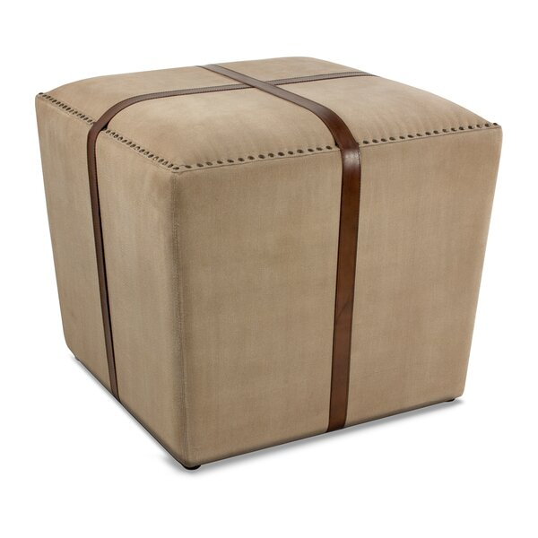 Leather Cube Ottoman by Sarreid Ltd