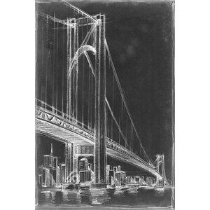'Suspension Bridge Blueprint I' Graphic Art Print on Canvas by East Urban Home