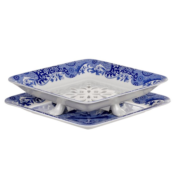 Blue Italian 200th Anniversary 2 Piece Fruit Strainer Platter by Spode
