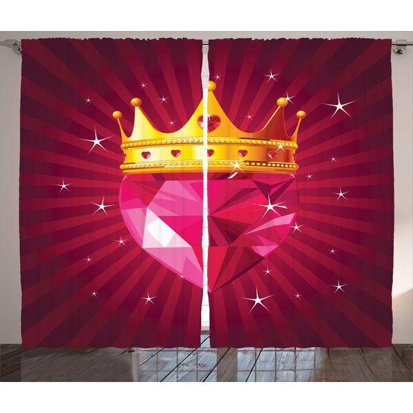 Mirtha Crystal Graphic Print & Text Semi-Sheer Rod Pocket Curtain Panels (Set of 2) by Latitude Run
